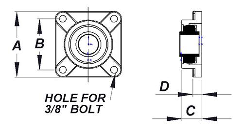4 bolt flange solid insert bearing