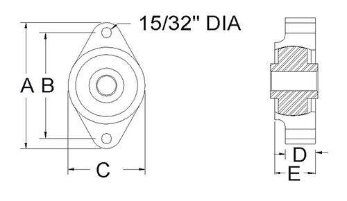 UHMW 2 bolt flange bearing