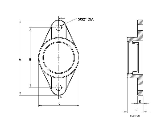 corrosion resistant 2 bolt flange block