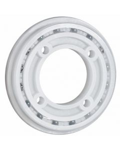 """2167-PTFE, Kynar® PVDF With PTFE Balls, 4 Point Contact Flange Bearing With Mounting Holes, 1-1/2"""" x 2.875"""" OD x 3/8"""" Wide"""